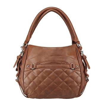 Quilted Hobo Bag Includes a Universal Holster & Snap-button Closure - Brown