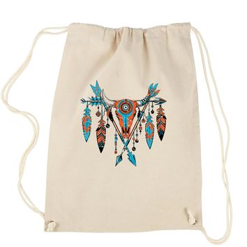 Native American Cattle Skull Southwest Drawstring Backpack