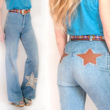RARE 70s High Waisted Bell Bottom Jeans w/ Leather Star Patches | Womens 1970s Faded Flare Pants Size XS Small 25 Southwestern Disco Bells