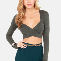 On Crop of the World Grey Crop Top