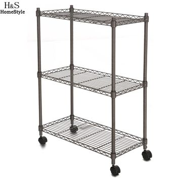 Homdox 23.4 x 11.7 x 33.5 inch 3-Tier Metal Wire Shelf Shelving Unit Modern Household Rack Rolling Cart Rack with Wheels