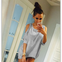 2016 Summer Women Fashion Tops Ladies Tee Shirts Half Sleeve Casual Top Off Shoulder Solid O-Neck Asymmetric Hem T-shirt M0452