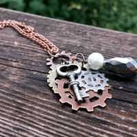 Steampunk gears key necklace copper nerd brass silver antique retro vintage handmade pearl unique pendant