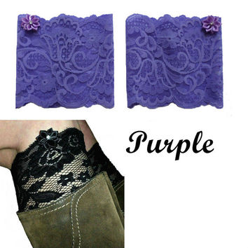 Purple Floral Scalloped Stretch Lace Satin Rhinestone Peek a Boo Boot Cuffs Lacey Boot Cuffs Boot Toppers