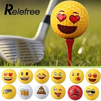 Relefree Creative Emoji Emoticon Practice Training Playing Sports Golf Balls Fun Toy