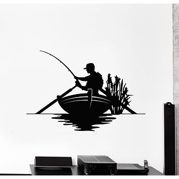 Vinyl Wall Decal Catch Fish Club Fishing Hobby Fisher Stickers Mural (g755)