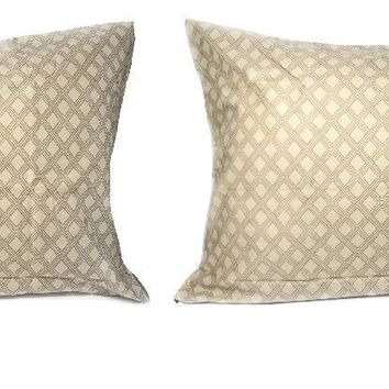 "DaDa Bedding Set of Two Geometric Sandy Tan Pillowcases - Queen 20"" x 30"" Size - 2-PCS (8279)"
