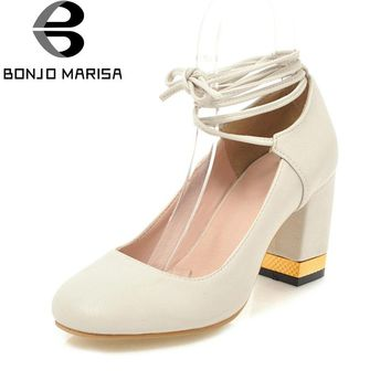 BONJOMARISA Women's Lace Up Chunky High Heels Less Platform Yellow Pink Beige Spring Shoes Woman Pumps Big Size 34-43