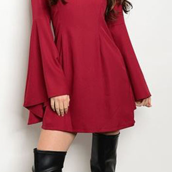 Long Bell Sleeve Wine Dress