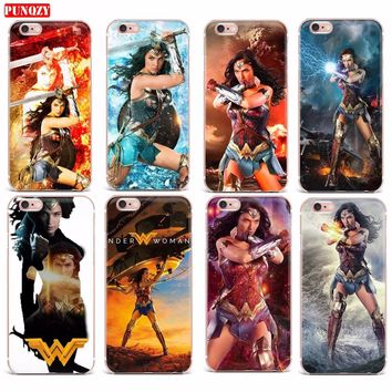 Case For iPhone 7 X 6 5S 8 7 Plus Hard PC Transparent Cases Cover Lovely Wonder Woman Series Mobile Phone Shell Patterned