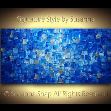 Original Large Blue Abstract Painting Textured by ModernHouseArt