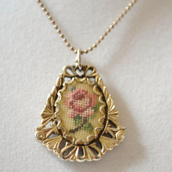 Vintage Necklace, Embroidered Medallion, Goldtone Necklace, Petit Point Necklace,1960s Necklace, Embroidered Pendant, Pendant,Gold Necklace