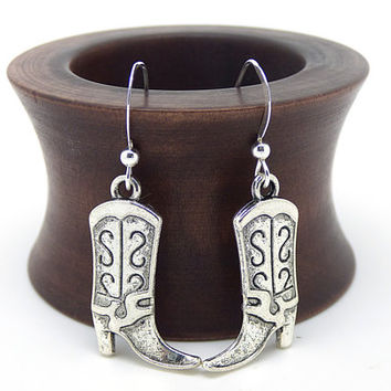 Cowboy Boot Earrings, Western Boots Jewelry, Sterling Silver and Pewter, Country Western Dangles