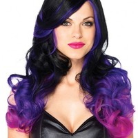 Leg Avenue Black and Purple Allure Wig : Brightly Colored Rave Wigs from RaveReady