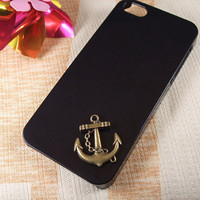 simple bronze ship anchor pendant on iphone case black by uioweh