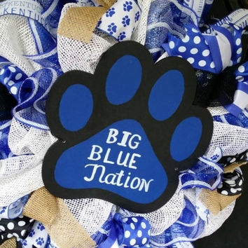 Kentucky Wildcats Blig Blue Nation Go Cats Burlap Kentucky Wreath Wildcats Go Big Blue UK Wreath Burlap Mesh Wreath Kentucky WildcatsBi