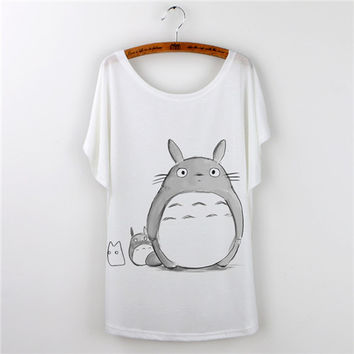 2016 Harajuku Totoro Print Cartoon T Shirt Women T-shirt Casual O-neck Short Sleeve tee shirt femme camisetas mujer tops tshirt
