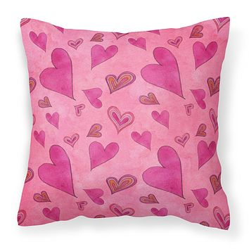 Watercolor Love and Hearts Fabric Decorative Pillow BB7550PW1818