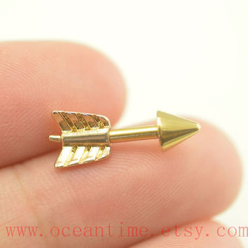 Tragus Earring ,gold arrow tragus piercing jewelry,14 gauge arrow Helix Cartilage earring jewelry,oceantime