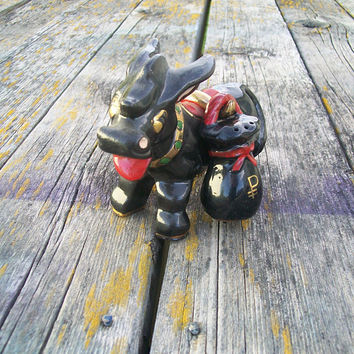 Vintage Black Donkey Salt and Pepper Shakers Japan 3 pieces 1950s