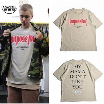 Man Si Tun Vfiles Bieber FOG Purpose Tour T Shirt Men/Women My Mama Dont Like You Letter Printed Tops Tee Hip Hop Streetwear