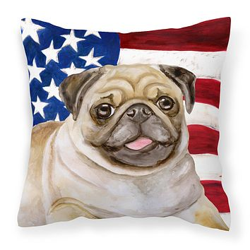 Fawn Pug Patriotic Fabric Decorative Pillow BB9718PW1414