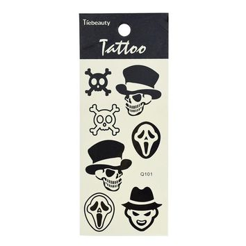 1 Sheet Black Waterproof Stickers Body Art Temporary Tattoo Stickers Feather Cat Skull Diamond Glitter Tattoo Sticker LA101-124