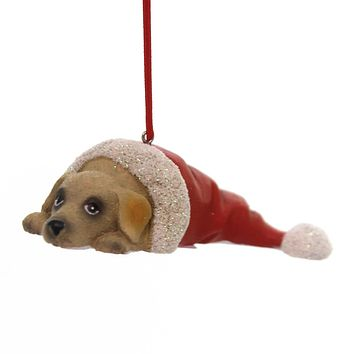Holiday Ornaments PUPPY IN SANTA HAT Best Friend Canine 131401 Yellow Lab