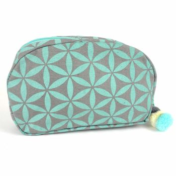 Flower of Life Makeup Bag Grey/Turquoise/Small