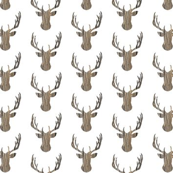 Deer head brown wood fence - 13moons_design - Spoonflower