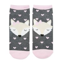 Fox and Heart Graphic Socks