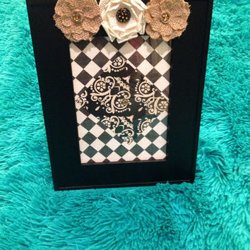 Embellished 5X7 picture frame burlap flower cream brown black and leopard sequin rhinestone