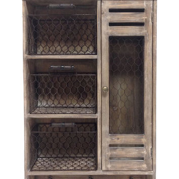 Stained Wood & Metal Mesh Wall Cabinet Organizer | zulily