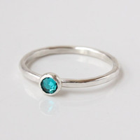 December birthstone ring, mothers ring, sterling silver, stacking ring, 4 mm Swarovski crystal, handmade, gift for mom, birthday, Christmas