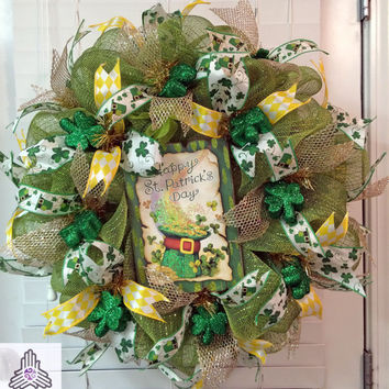 St. Patrick's Day Shamrock Deco Mesh Wreath