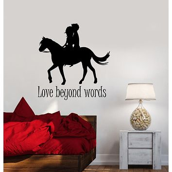 Vinyl Wall Decal Words Quote Romantic Love Couple On Horseback Stickers (3260ig)