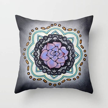 Purple Succulent Cactus Mandala pillow, soft decorative throw pillow cover, 18 x 18, meditation pillow, yoga studio, home decor, Mexican