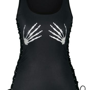 Skeleton Hands Corset Tank Top