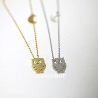 Owl necklace with tiny moon charm  in gold or silver, simple, everyday, chic necklace with 18 inches chain