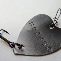 Handstamped Metal Heart Fishing Lure Dad Grandpa Husband Father Groom Best Man Anniversary Wife Gifts Wedding Favor