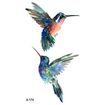 Wyuen New Design Colorful Birds Fake Tattoo Waterproof Temporary Arm Tatoo Stickers for Women Men Body Art Tattoos A-174