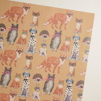 Pets with Neon Glasses Kraft Wrapping Paper Roll