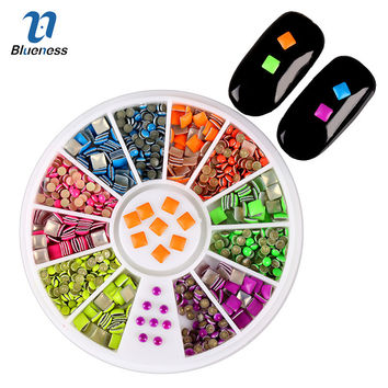 6 Neon Colors Plating Sharp Square Round Alloy Nail Art Stickers, Tips Glitter Fashion Nail Tools DIY Decoration Stamping