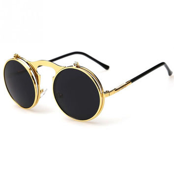 New Vintage Steampunk Circle Sunglasses