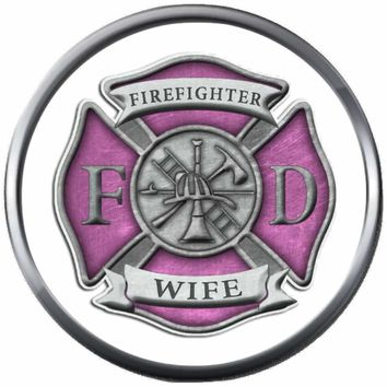 Pink Maltese Cross Firefighter Wife Thin Red Line Courage Under Fire 18MM-20MM Snap Charm Jewelry New Item