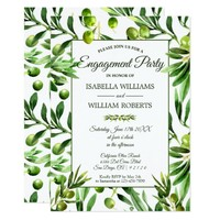Elegant Olive Leaf Boho Garden Engagement Party Card