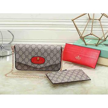 Gucci Women Leather Shoulder Bag Crossbody Wallet Purse Three Piece Set