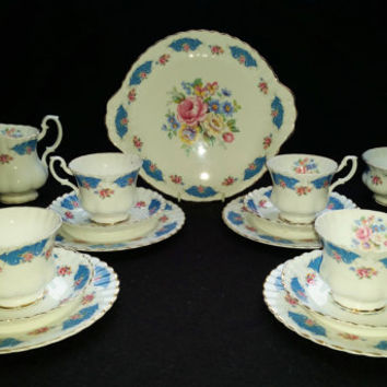 Vintage Ashley Dee Bone China Tea Service for 4 Blue and Pink Floral Pattern Coffee Set Teacups Trios Cake Plate Sugar Bowl Milk Jug Creamer