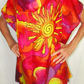 silk top, Sun Goddess,silk blouse, resort wear, goddess wear, spiritual, pagan, festival wear,oversize top, hand painted silk top         p