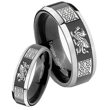 His Hers Shiny Black Bevel Multiple Dragon Celtic 2 Tone Tungsten Wedding Rings Set